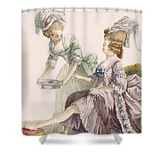 Elegant Lady Having Her Feet Washed Shower Curtain