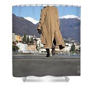 Elegant Woman Walking Shower Curtain