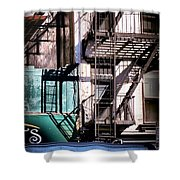 Elemental City - Fire Escape Graffiti Brownstone Shower Curtain