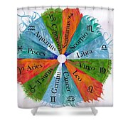 Elements With Zodiac Signs Shower Curtain