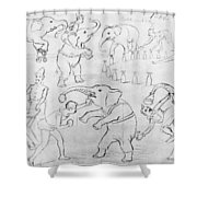 Elephant Acts, 1880s Shower Curtain