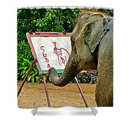 Elephant Artist In Mae Taeng Elephant Park Near Chiang Mai-thailand Shower Curtain