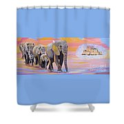 Elephant Fantasy Must Open Shower Curtain