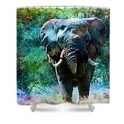 Elephant - Featured In Comfortable Art- Wildlife- And Nature Wildlife Groups Shower Curtain