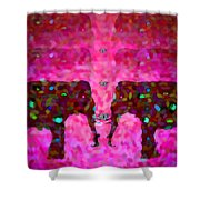 Elephant Impressions In Magenta Shower Curtain