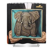 Elephant In A Box Shower Curtain