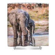 Elephant Mother And Calf Shower Curtain