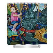 Elephant Ride Shower Curtain