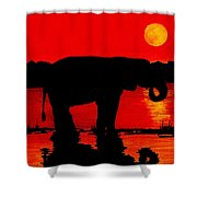 Elephant Silhouette African Sunset Shower Curtain