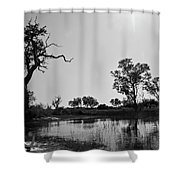 Elephant Skull On Riverbank, Okavango Shower Curtain