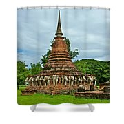 Elephant Stupa At Wat Sarasak In Sukhothai Historical Park-thailand Shower Curtain