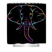 Elephant Watercolors - Black Shower Curtain