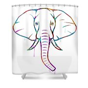 Elephant Watercolors - White Background Shower Curtain