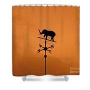 Elephant Weathervane Sunset Shower Curtain