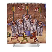 Elephants And Acrobats Shower Curtain
