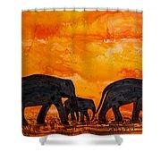 Elephants At Sunset Shower Curtain