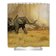 Elephants Moving Before A Fire Shower Curtain
