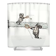 Elephants Playing Tennis Shower Curtain