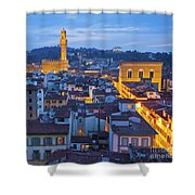 Elevated Night View Of Central Florence Shower Curtain