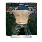 Elevated View At Dusk Of Hoover Dam Shower Curtain