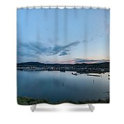 Elevated View Of A Harbor At Sunset Shower Curtain