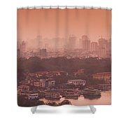 Elevated View Of A Lake And A City Shower Curtain