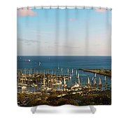 Elevated View Of Boats At A Harbor Shower Curtain