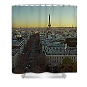 Elevated View Of Paris From Arc De Shower Curtain