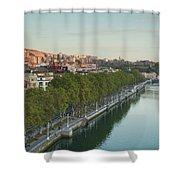 Elevated View Of The Zubizuri Bridge Shower Curtain