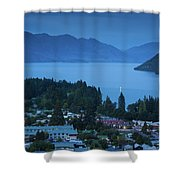 Elevated View Of Town At Dawn Shower Curtain