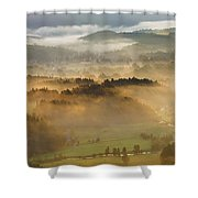 Elevated View Of Trees On Hill Shower Curtain