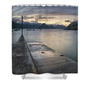 Elgol Pier And Boats With Cuillin Shower Curtain