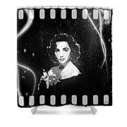 Elizabeth Taylor - Black And White Film Shower Curtain by Absinthe Art By Michelle LeAnn Scott