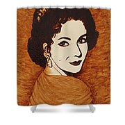 Elizabeth Taylor Original Coffee Painting On Paper Shower Curtain