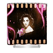 Elizabeth Taylor - Pink Film Shower Curtain by Absinthe Art By Michelle LeAnn Scott