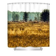 Elk In The Distance No. 1 Shower Curtain