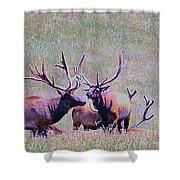 Elk On The Plains 2 Shower Curtain