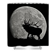 Elk Silhouette On Moon Shower Curtain