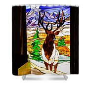 Elk Stained Glass Window Shower Curtain by Robert Bales