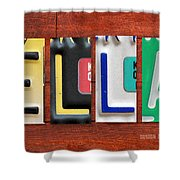 Ella License Plate Name Sign Fun Kid Room Decor. Shower Curtain
