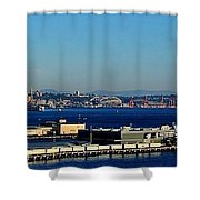 Elliot Bay Panorama Shower Curtain