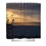 Elliott Bay Sunrays Shower Curtain