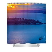 Elliott Bay Sunset Shower Curtain