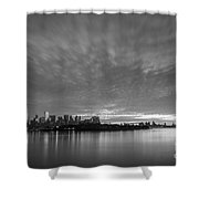 Ellis Island And Manhattan Sunrise Bw Shower Curtain