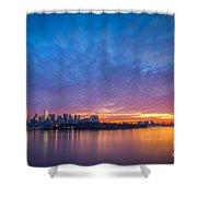Ellis Island And Manhattan Sunrise Shower Curtain