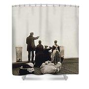 Ellis Island Immigrants Shower Curtain
