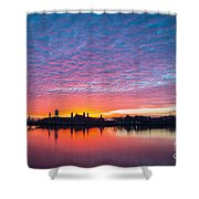 Ellis Island Silhouette Sunrise Shower Curtain