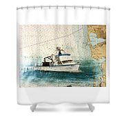 Elly Crab Fishing Boat Nautical Chart Map Art Shower Curtain