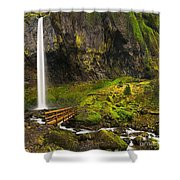 Elowah Falls Panorama -  Columbia River Gorge In Oregon Shower Curtain