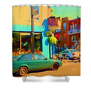 Elses Pub Cafe Plateau Montreal Corner Roy And De Bullion City Scene Art Of Montreal Carole Spandau Shower Curtain